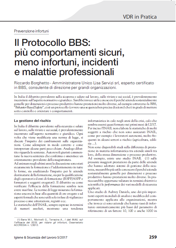 Articolo su ISL di ing. Riccardo Borghetto  su Behavior Based Safety