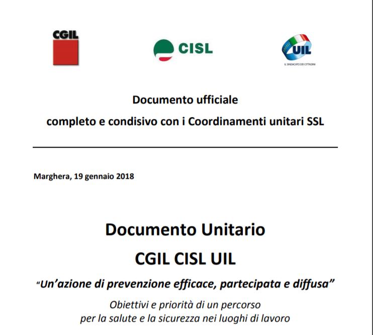 Salute e Sicurezza sul lavoro: Documento Unitario CGIL CISL UIL
