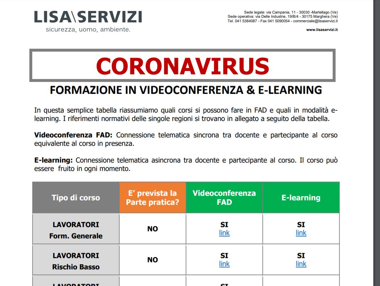 tabella formazione sicurezza in videoconferenza ed e-learning