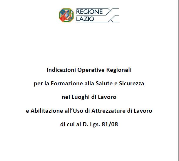 Regione Lazio: nuove indicazioni operative per la formazione