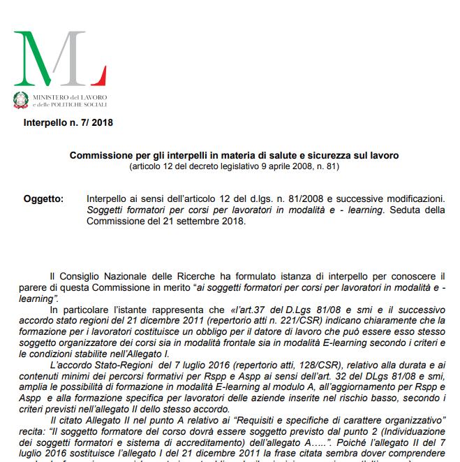 Interpello 7/2018 requisiti dei soggetti formatori corsi in e-learning