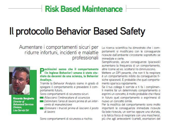 Articolo sulla Behavior Based Safety sulla rivista Manutenzione tecnica e Management