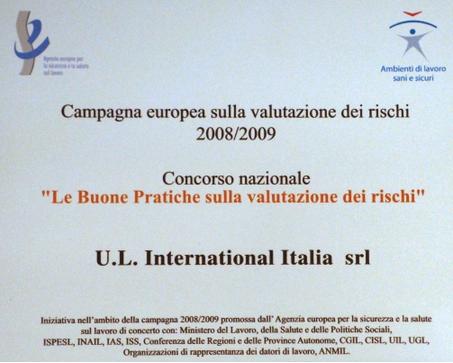 Premio buone prassi valutazione rischi Lisa Servizi - UL International